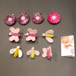 10 pieces mix of Hair barettes and broaches